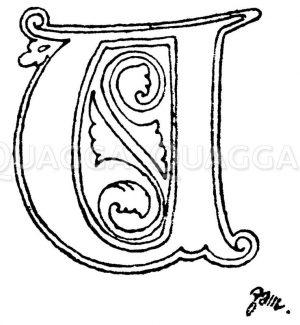Gotische Unzialschrift: Buchstabe A. Initial aus dem Jahr 1480. Rouen. Zeichnung/Illustration