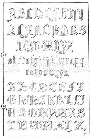 1. Gotisches Alphabet in Frakturschrift aus dem Jahre 1467. (Hrachowina). 2. Gotisches Alphabet in Frakturschrift. (Das Alphabet ist nicht einheitlich