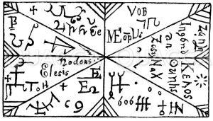 Amulett (Bleiplatte aus dem 17. Jahrhundert). Nach Lammertz'  Volksaberglauben in Bayern. Zeichnung/Illustration