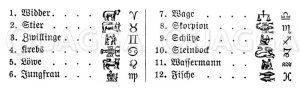 Sternzeichen und ihre Symbole Zeichnung/Illustration