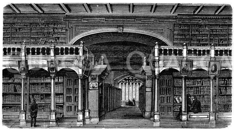Innere Ansicht der Bodleyanischen Bibliothek in Oxford Zeichnung/Illustration