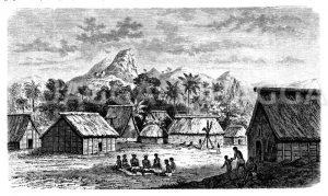Fidschidorf Levuka auf der Insel Dvalan Zeichnung/Illustration