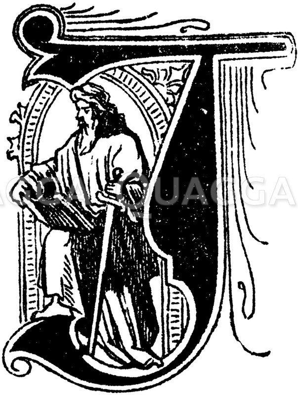 Buchstabe J: religiöses Motiv Zeichnung/Illustration