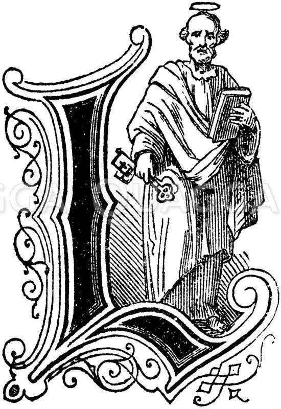 Buchstabe L: religiöses Motiv Zeichnung/Illustration