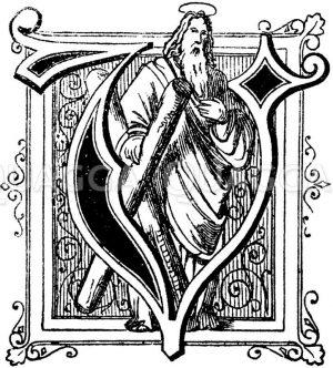 Buchstabe V: religiöses Motiv Zeichnung/Illustration