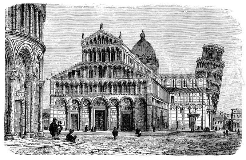 Piazza dei Miracoli (Pisa, Italien, Taufkirche ab 1153, Schiefe Turm ab 1173)