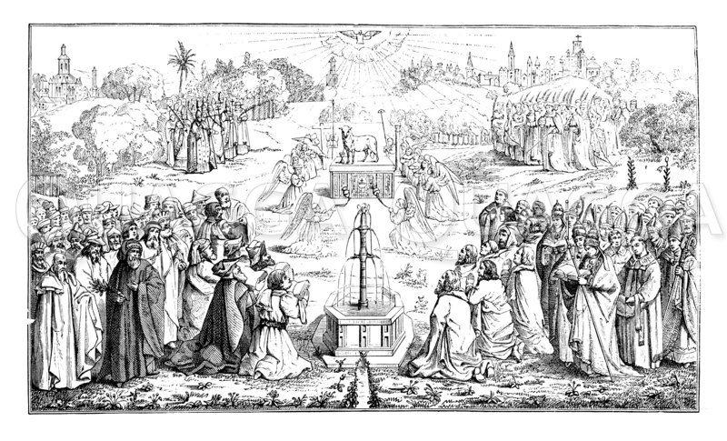 Unterer Teil des Genter Altarbildes Zeichnung/Illustration