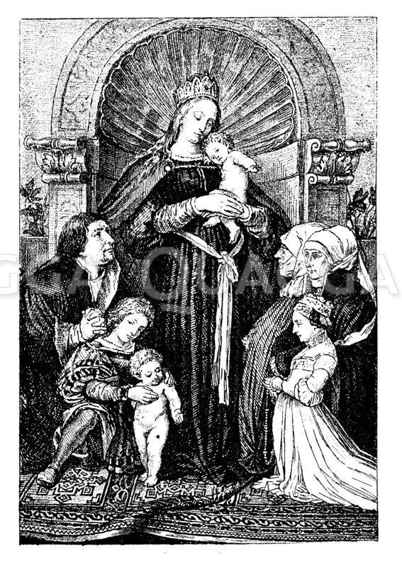 Madonna von Holbein. Nach dem Dresdener Exemplar Zeichnung/Illustration