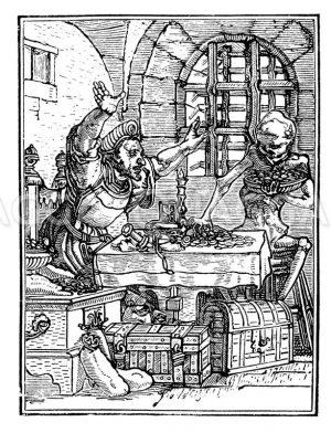 Der Tod und der Geizhals Zeichnung/Illustration