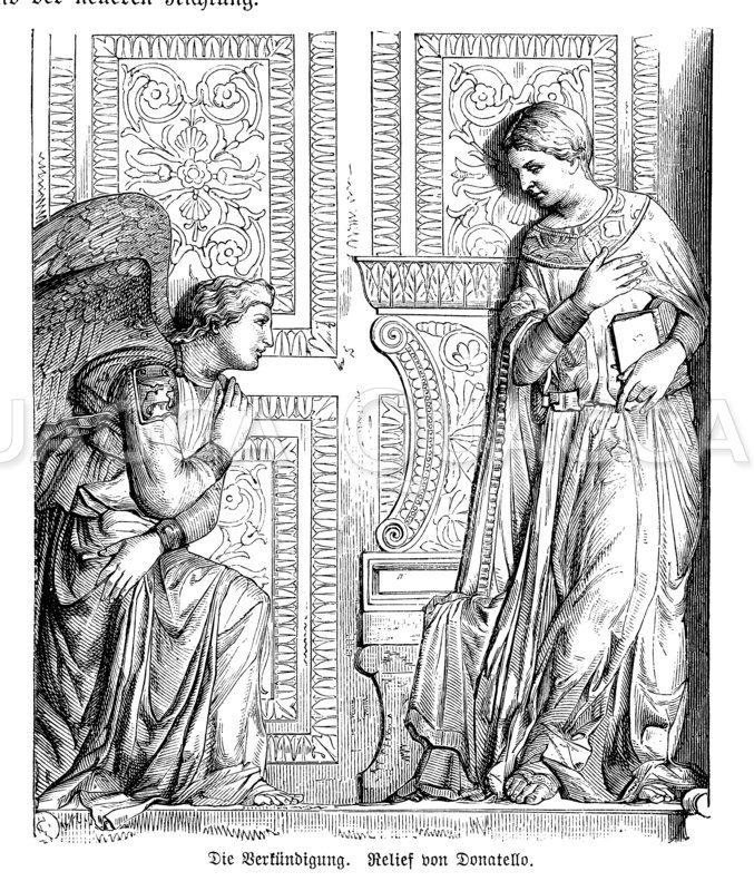Die Verkündigung. Relief von Donatello Zeichnung/Illustration