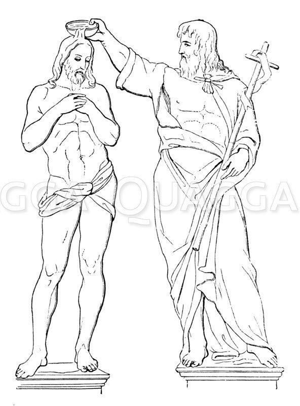 Taufe Christi. Marmorgruppe von Andrea Sansovino Zeichnung/Illustration