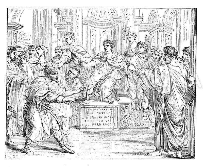 Bestrafung des Zauberers Elymas. Auf Raffaels Tapeten Zeichnung/Illustration