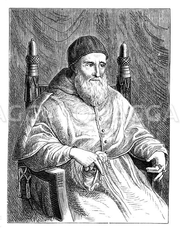 Papst Julius II. Nach dem Gemälde von Raffael Zeichnung/Illustration
