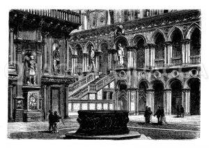 Hof des Dogenpalastes zu Venedig Zeichnung/Illustration