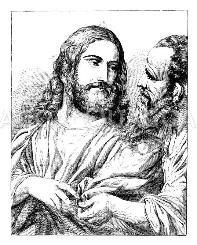 Christus mit dem Zinsgroschen. Von Tizian Zeichnung/Illustration