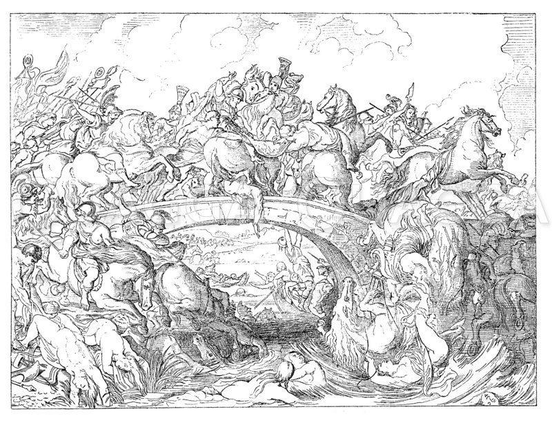 Amazonenschlacht. Von Rubens Zeichnung/Illustration