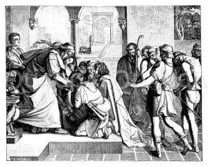 Josephs Begegnung mit seinen Brüdern. Von Peter von Cornelius Zeichnung/Illustration