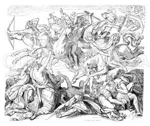 Die apokalyptischen Reiter. Von Peter von Cornelius Zeichnung/Illustration