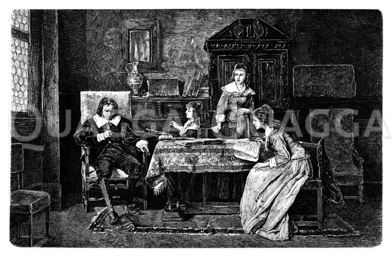 John Milton diktiert seiner jünsten Tochter 'Das verlassene Paradies'. Von Michael Muntaczy Zeichnung/Illustration
