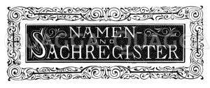 Schriftzug: Namen- und Sachregister Zeichnung/Illustration