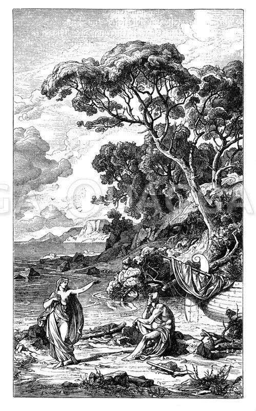 Odysseus bei der Nymphe Kalypso. Von Friedrich Preller. Aus dem Zyklus der Odysseelandschaften
