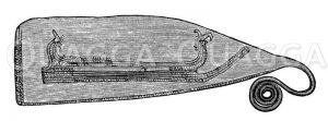 Dänisches Messer mit Schiffsornament Zeichnung/Illustration