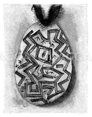 Muschelschmuck aus Australien mit Labyrinthzeichnung Zeichnung/Illustration