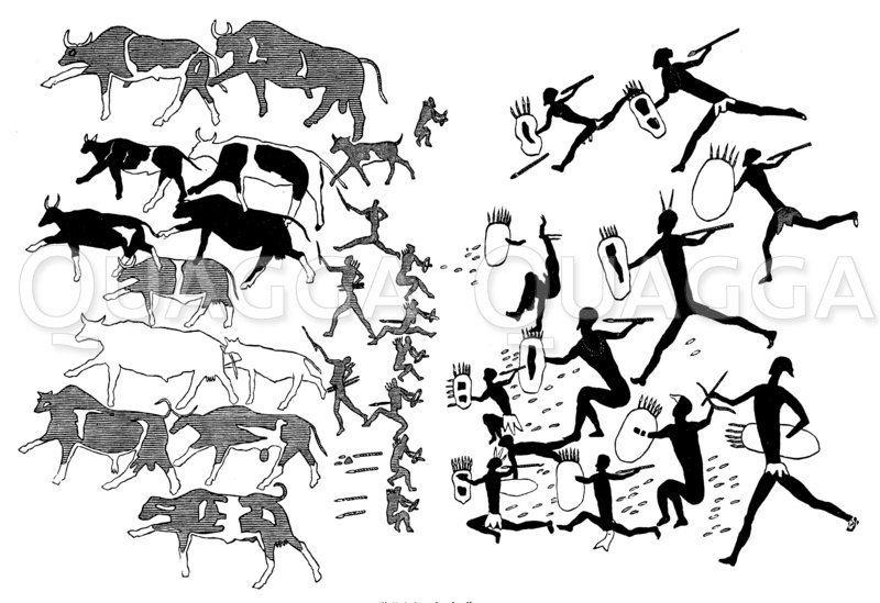Buschmannjagd auf Wildrinder Zeichnung/Illustration