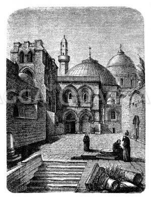 Portal der Kirche des heiligen Grabes in Jerusalem Zeichnung/Illustration