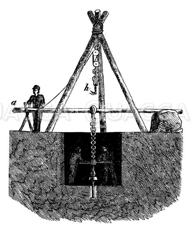 Bohren der Artesischen Brunnen Zeichnung/Illustration