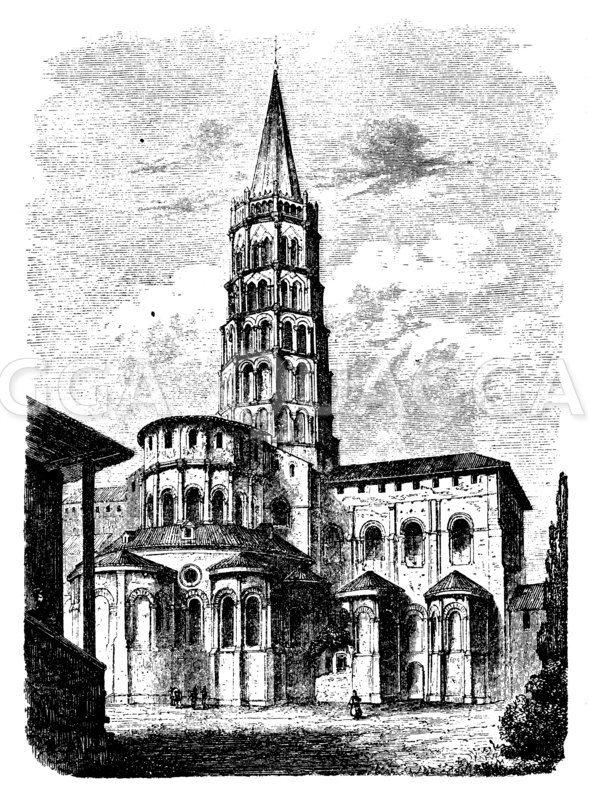 Kirche St. Sernin zu Toulouse Zeichnung/Illustration