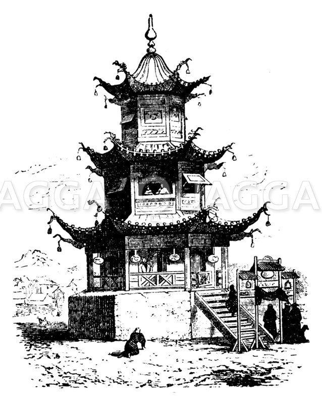 Älterer Tempel. Ting Zeichnung/Illustration