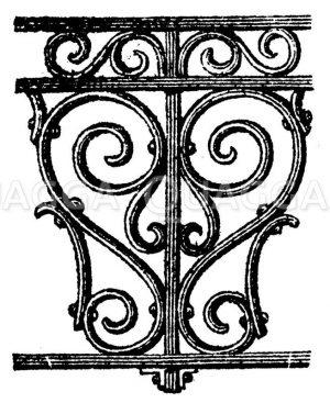 Konsole. S-förmige gewundene Verzierung Zeichnung/Illustration