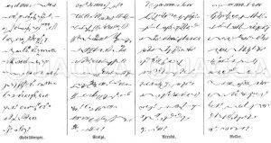 Schriftprobe für die bestehenden vier Hauptsysteme der deutschen Stenographie Zeichnung/Illustration