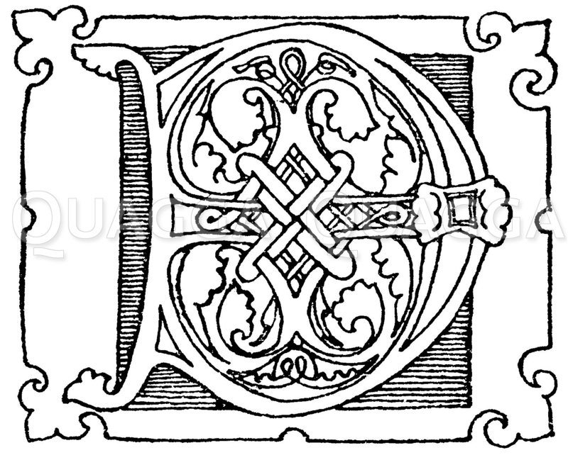 Romanische Schrift: Buchstabe D. Initial aus dem 12. Jahrhundert. Zeichnung/Illustration