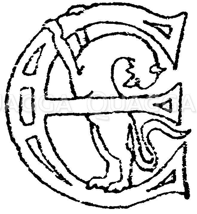 Romanische Schrift: Buchstabe E. Initial aus dem Jahr 990. Echternacher Evangeliar in der Bibliothek zu Gotha. (Lamprecht). Zeichnung/Illustration
