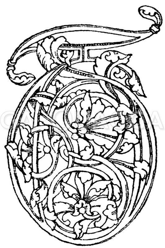 Romanische Schrift: Initial aus dem 12. Jahrhundert. Museum in Berlin. Zeichnung/Illustration