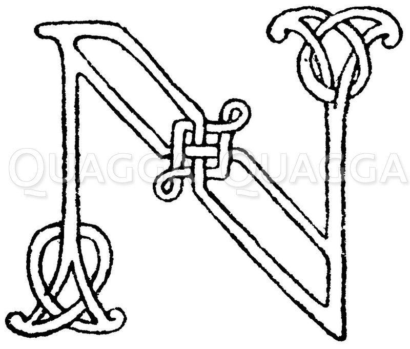 Romanische Schrift: Buchstabe N. Initial aus dem 9. oder 10. Jahrhundert. Zeichnung/Illustration