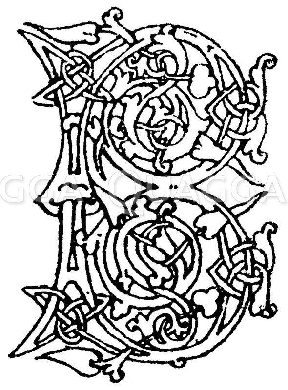Romanische Schrift: Buchstabe B. Initial aus dem 12. Jahrhundert. Breviarium Cassinense. Bibliotheque Mazarine