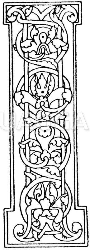 Romanische Schrift: Buchstabe I. Initial aus dem 12. Jahrhundert. Museum in Berlin Zeichnung/Illustration