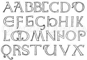 Romanische Schrift: Alphabet aus dem Anfang des 8. Jahrhunderts. Evangeliar des heiligen Cuthbert. Britisches Museum. (Shaw) Zeichnung/Illustration