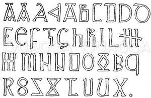 Romanische Schrift: Alphabet aus dem 10. Jahrhundert. Manuskript im Britischen Museum. (Shaw) Zeichnung/Illustration