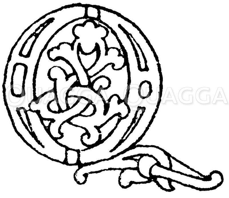 Romanische Schrift:  Buchstabe Q. Initial aus dem Jahr 990. Echternacher Evangeliar in der Bibliothek zu Gotha. (Lamprecht). Zeichnung/Illustration