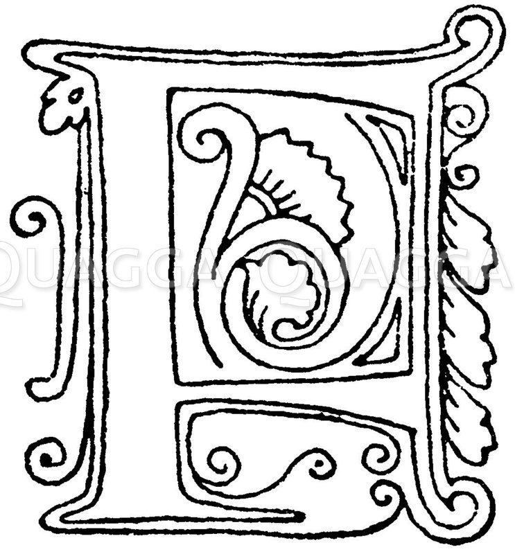 Gotische Unzialschrift: Buchstab P. Initial aus dem Jahr 1480. Rouen. Zeichnung/Illustration