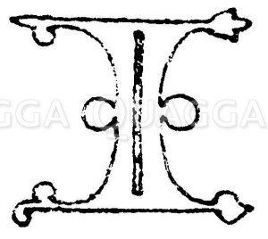 Gotische Unzialschrift: Buchstabe I. Initial aus dem Jahr 1480. Pontificale Johann II.