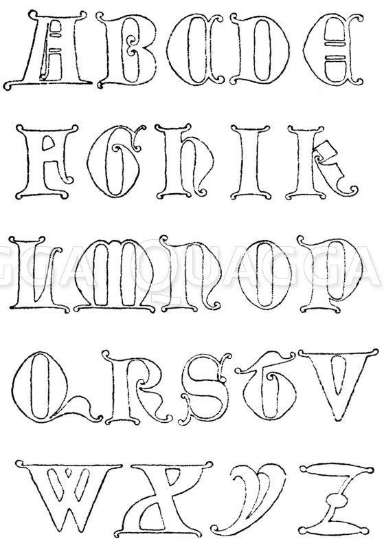 Gotische Unzialschrift: Alphabet aus dem Jahr 1349. Margaretenkirche in Lynn-Regis. England. (Shaw) Zeichnung/Illustration