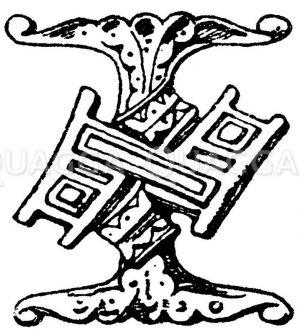 Gotische Unzialschrift: Buchstabe I. Buchstabe vom Chorgestühl in der St. Georgen-Kapelle zu Windsor. Ende des 15. Jahrhunderts. (Shaw) Zeichnung/Illustration