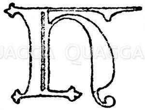 Gotische Unzialschrift: Buchstabe N. Initial aus dem Jahr 1480. Pontificale Johann II.