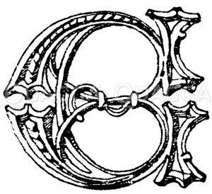 Gotische Unzialschrift: Buchstabe E. Buchstabe vom Chorgestühl in der St. Georgen-Kapelle zu Windsor. Ende des 15. Jahrhunderts. (Shaw) Zeichnung/Illustration