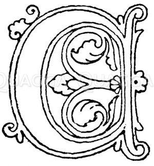 Gotische Unzialschrift: Buchstab A. Initial aus dem Jahr 1480. Rouen. Zeichnung/Illustration